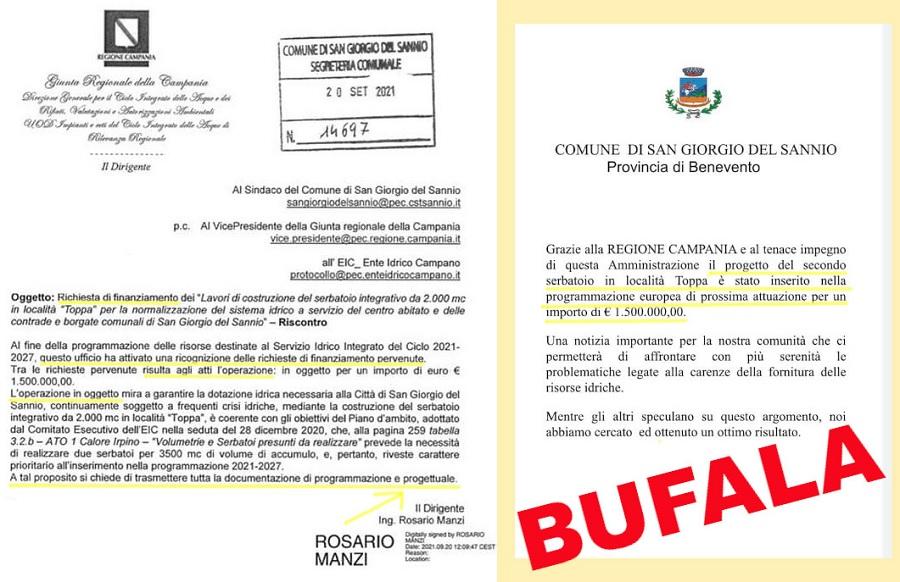 """Elezioni,Ciampi: """"Non c'è nessun finanziamento per il serbatoio dell'acqua a San Giorgio del Sannio"""""""
