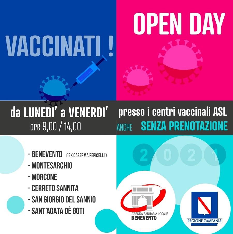 ASL: Open day vaccini da lunedì a venerdì. Accesso libero e senza prenotazione per la prima dose.Ecco gli hub che saranno aperti.
