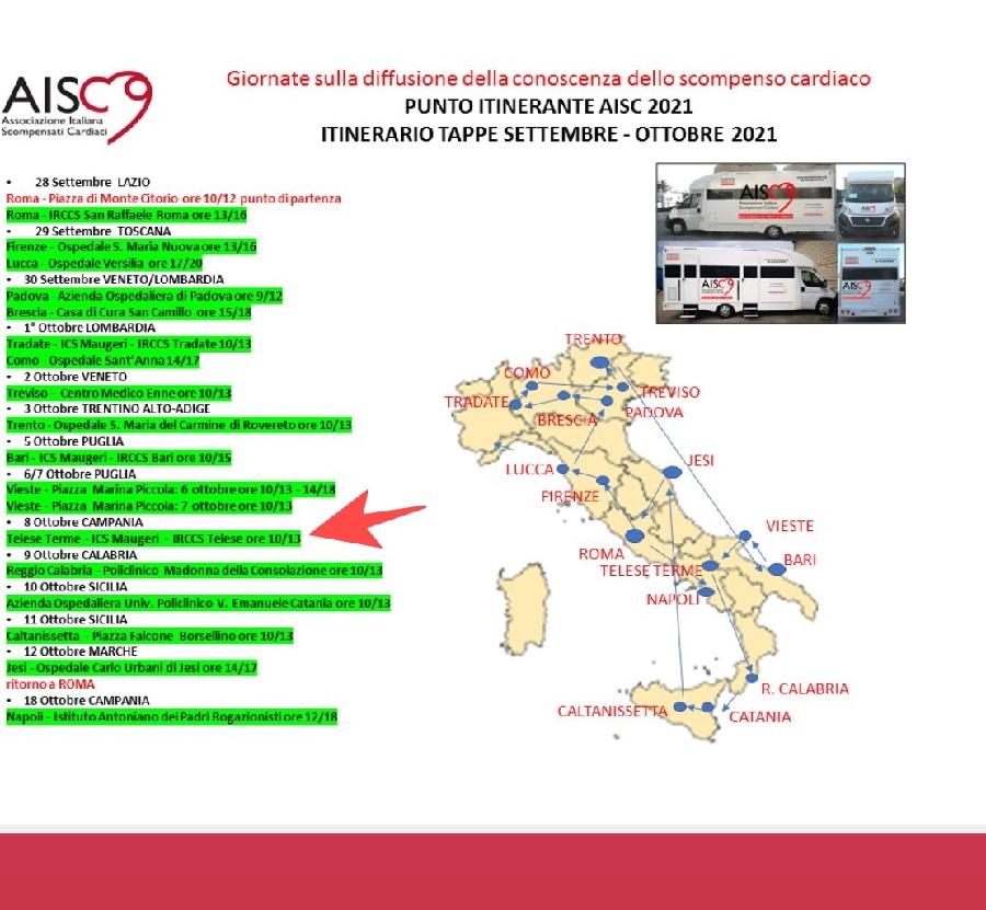 Venerdì 8 Ottobre a Telese Terme il camper per la diagnosi e prevenzione dello scompenso cardiaco