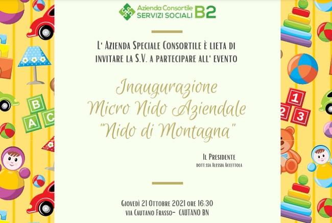 """Giovedì 21 Ottobre 2021 inaugurazione del Micro """"Nido di Montagna"""" di Cautano"""