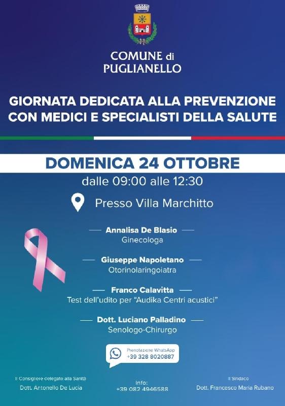 Puglianello. Il 24 Ottobre giornata dedicata alla prevenzione con medici e specialisti della salute.