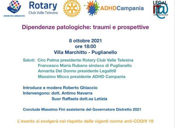 """""""Dipendenze patologiche: traumi e prospettive"""" è il tema di un convegno promosso dal Rotary Club Valle Telesina"""