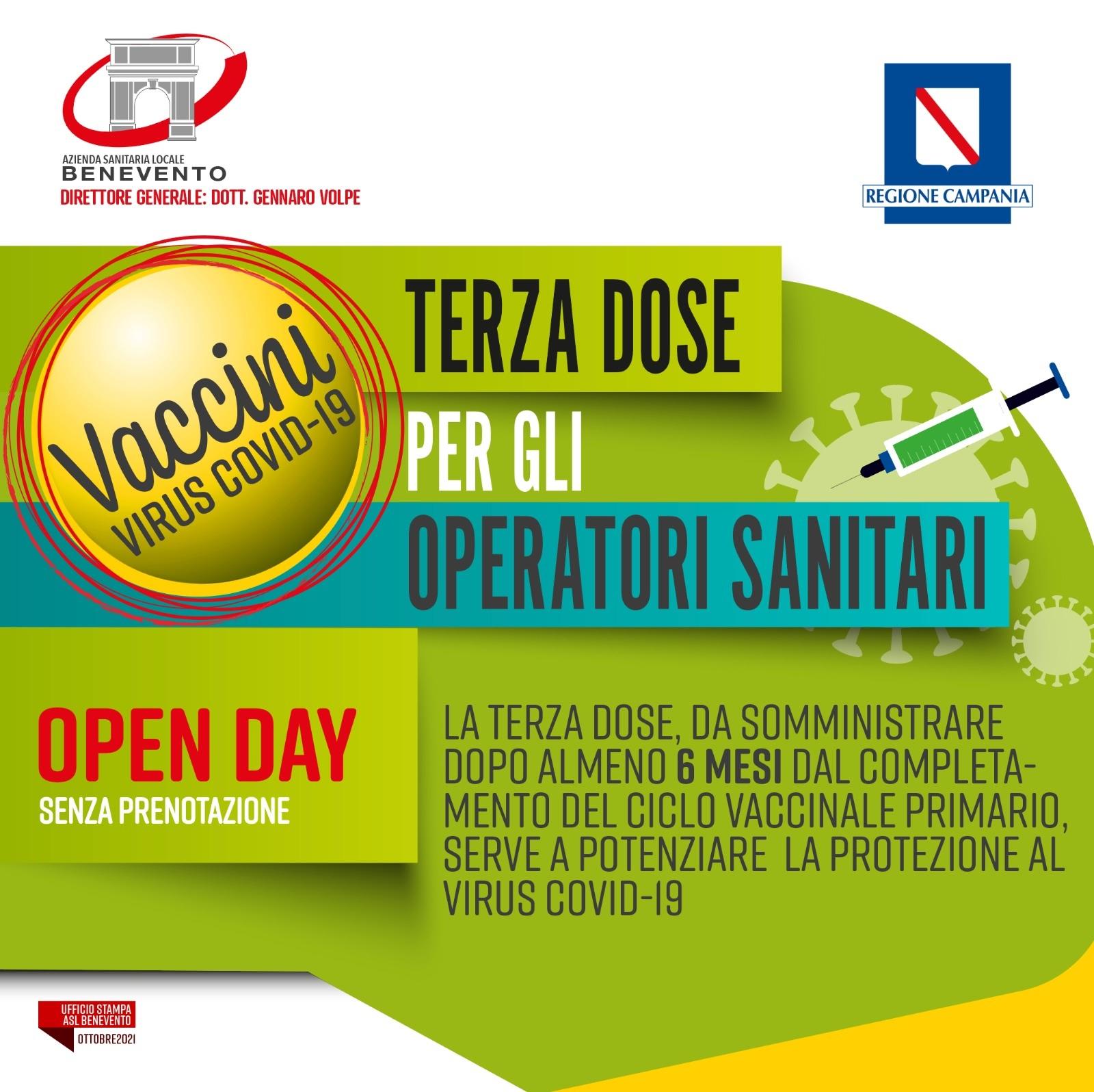 ASL BN: Open day terza dose anche per gli operatori sanitari